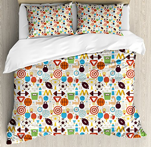 Sport King Size Duvet Cover Set by Ambesonne, Abstract Elements of Physical Activities Healthy Volleyball Soccer Recreation Themed, Decorative 3 Piece Bedding Set with 2 Pillow Shams, Multicolor by Ambesonne
