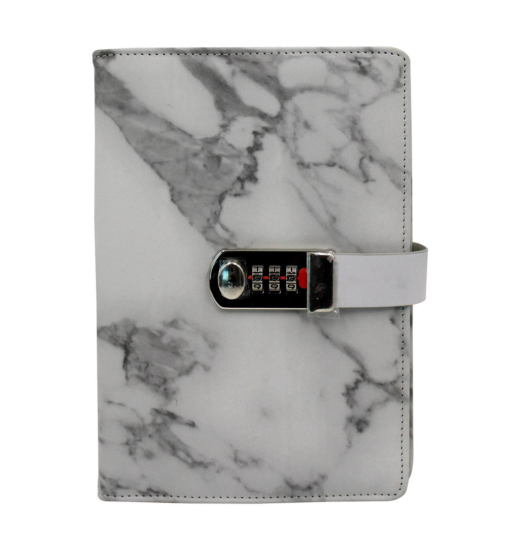 Eilova Marble Pattern PU Leather Travel Journal Diary Personal Writing Notebooks Daily Business Planner Notepad with Combination Lock A5 Size,100 Sheets of Ruled Paper