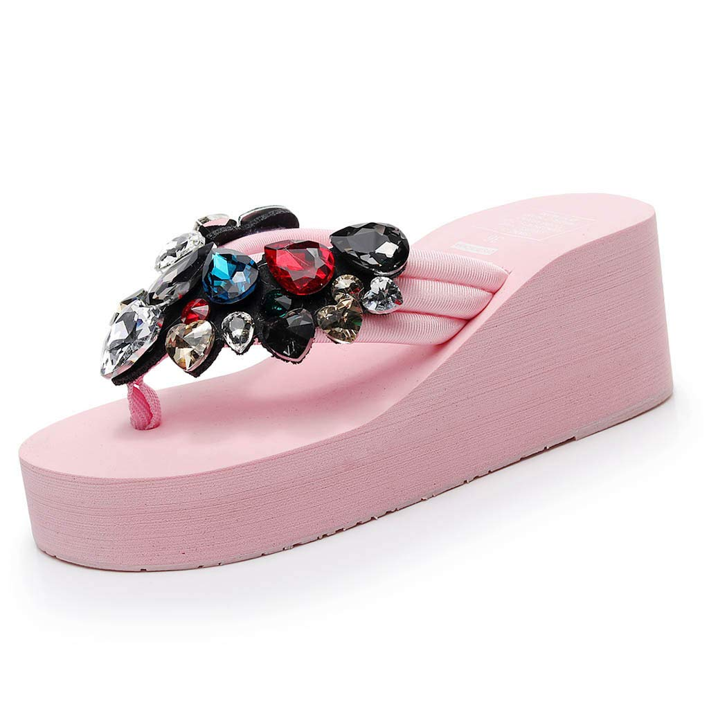 65c81e895 Amazon.com  Hurrybuy Women s Crystal Wedge Flip Flops High Heels Sandals  Beach Slippers Pink  Clothing