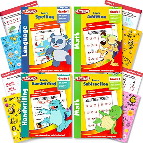 Playskool Grade 1 Workbooks Set -- 4 Workbooks for 1st Graders with Reward Stickers (Spelling, Handwriting, Addition, Subtraction)