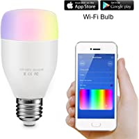 ELEGIANT Ampoule WiFi, lumière Chaude Ampoule Bulb en Colore Dimmable Lampe Intelligente Multicolor LED Light Bulb -Toute Les Couleurs de l'arc en Ciel (Ampoule Wi-FI)