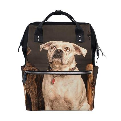FBTRUST - Mochila de viaje con diseño de perros de gran capacidad, bolsa de pañales