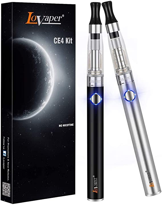 Vape Pen E-Cigarettes Starter Kit - Lovaper E Cigarettes 2 Pack CE4 E Shisha Pen, 1100mAh Rechargeable Battery, Ecig Top Refill Vape 1.6ml Tank, E Cig Travel Set, Vapour Kit No Nicotine