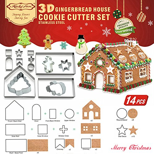 3D CHRISTMAS Gingerbread House Cookie Cutter Set (Stainless Steel) - Winter Festival & Xmas Cutouts Cutters Kit - Biscuit Pastry Fondant Cake Decorating Mold Set- LFGB & FDA Approved