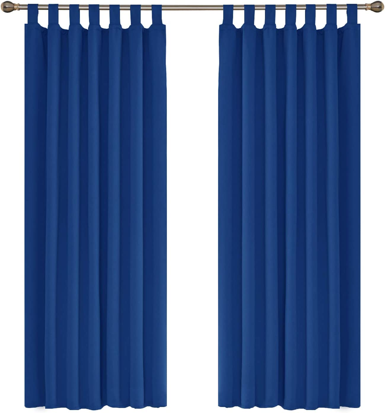 """Amazon Brand - Umi Curtains Thermal Insulated Tab Top Blackout Curtains for Livingroom 55 x 70 Inch Royal Blue Two Panels 2 Panels 55""""x69"""" Blue"""