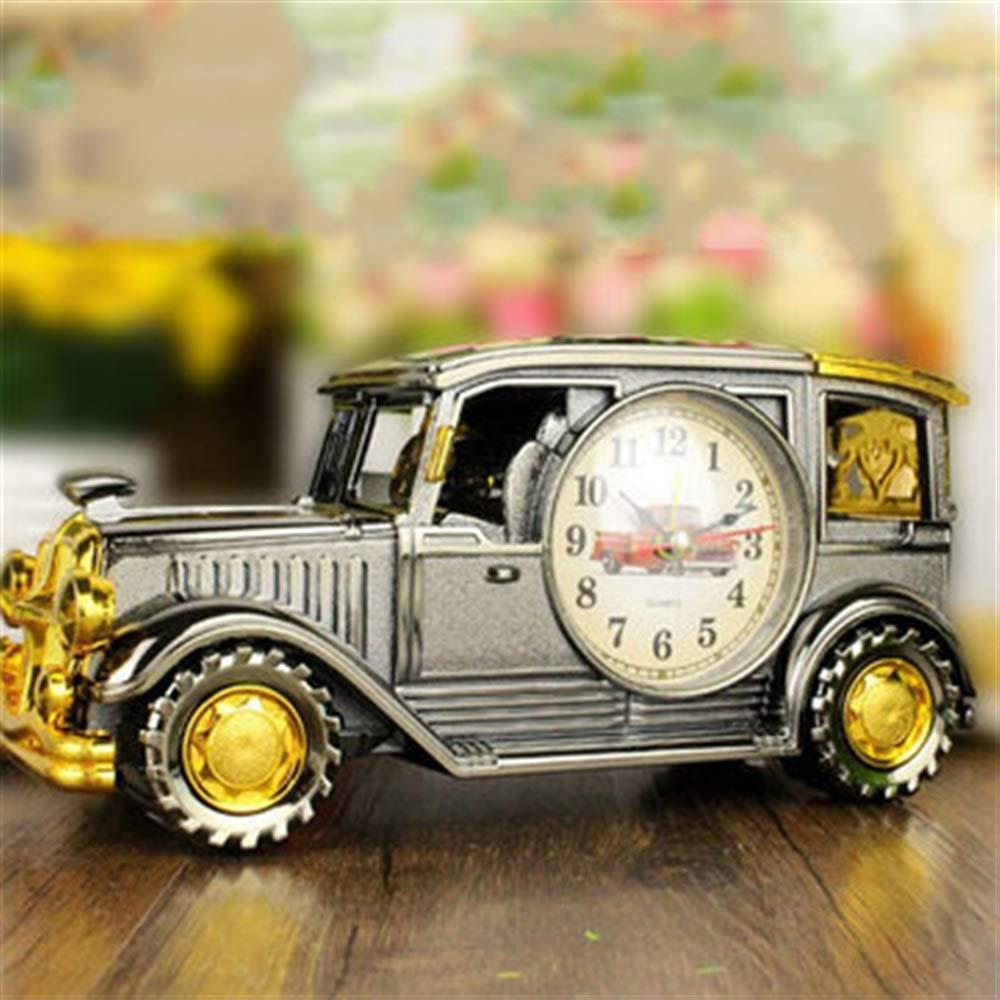 Wanrane Vantage Car Alarm Clock,Retro Car Style Alarm Clock with Pencil Box Children Gift Table Desk Car Shape Clock (Color : Silver)
