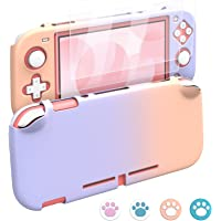 MoKo 3-i-1 fodral kompatibelt med Nintendo Switch Lite, med 2 skärmskydd i härdat glas och 4 tumgrepp kepsar, PC…