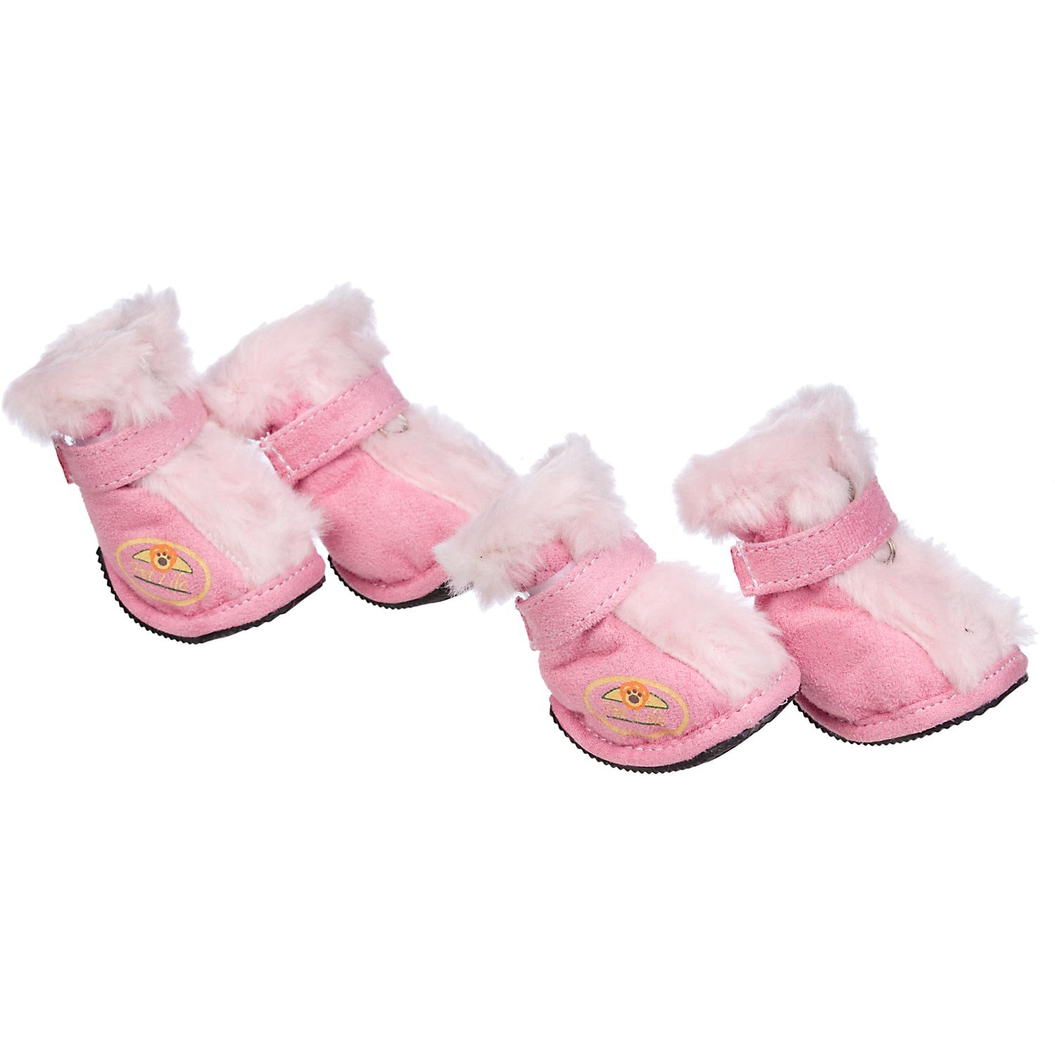 Pet Life Insulated Fashion Designer Plush Premium Fur-Comfort Suede Supportive Pet Dog Shoes Booties Boots, Small, Pink