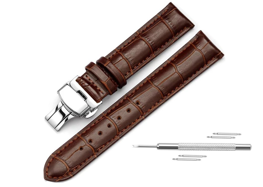 Watch Band Replacment For Men 22mm Calf Leather Watch Strap Deployant Clasp Butterfly Buckle-Brown by DaStrap (Image #2)