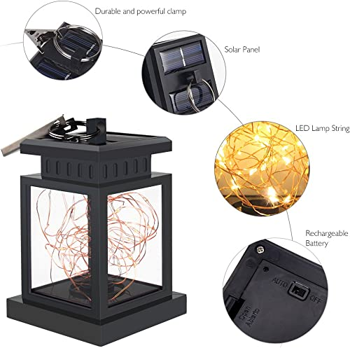 JIAN YA NA Solar Lantern Hanging Waterproof Decor Landscape Lamp LED String Fairy Copper Lights Warm White Pack of 2