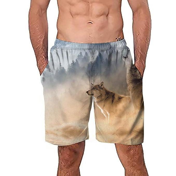 c26cdbe30ffed Allywit Men's 3D Wolf Swim Trunks Quick Dry Casual Swim Shorts: Amazon.ca:  Clothing & Accessories