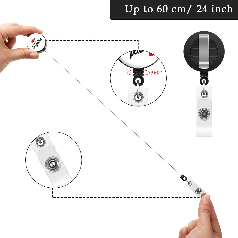 6 Stili 6 Pezzi Porta Bobina di Badge Infermiera Inspirational Retrattile Porta Carta dIdentit/à Infermiere Badge Decorativo con Clip da Cintura