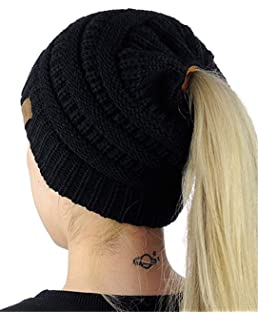 Women Beanie Tail Hats Ponytail Messy Bun Head Wrap Cap Autumn Winter 5382da2de8f4