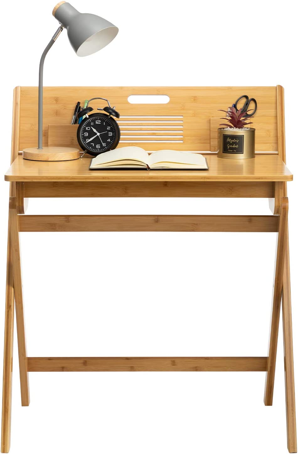 AbocoFur Bamboo Folding Writing Desk for Small Space, Small Study Computer and Laptop Desk with Storage Space, No Assembly Required Home Office Desk, Portable Dressing Table for Apartment, Bedroom