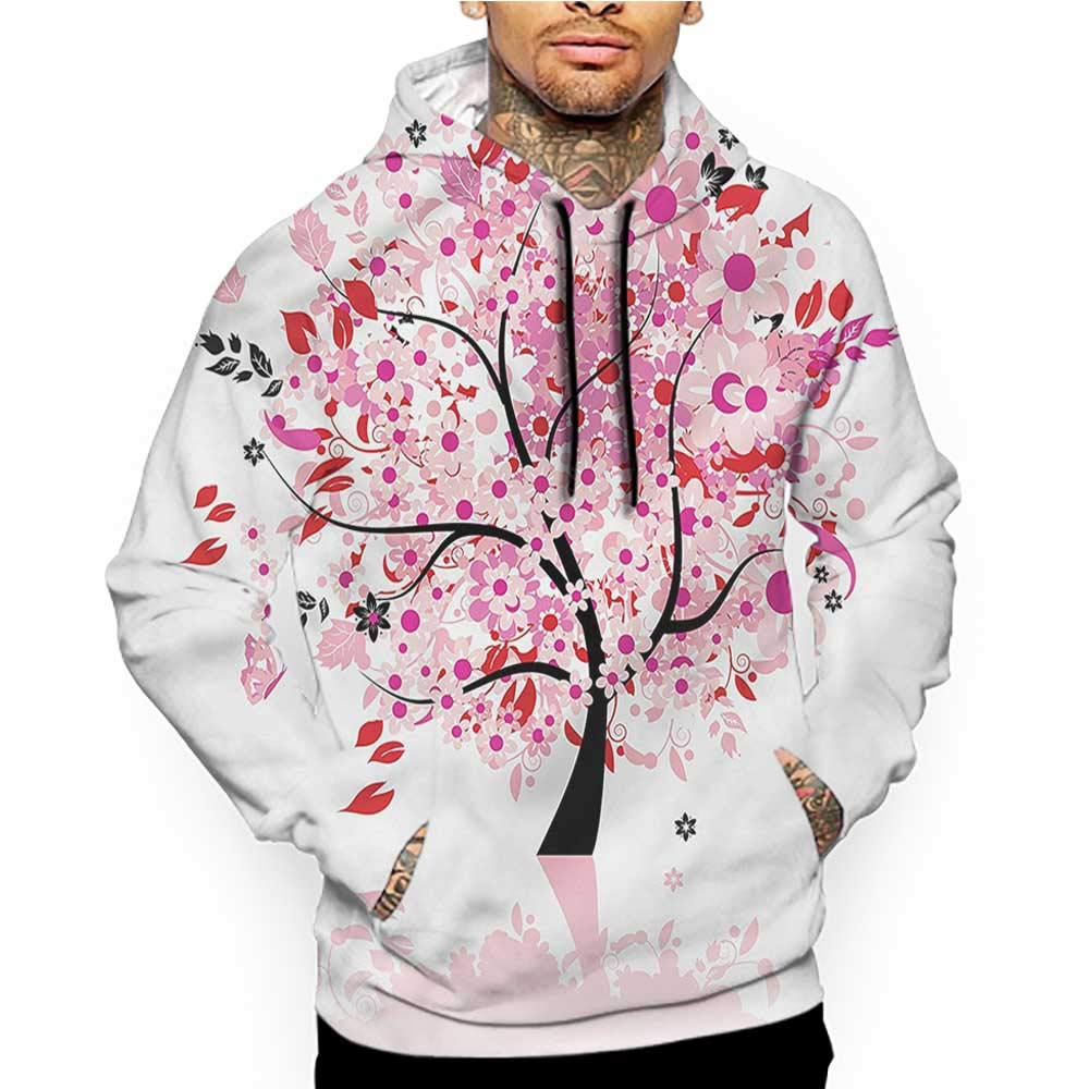 Unisex 3D Novelty Hoodies Thank You,Quote with Blossoms,Sweatshirts for Women Plus Size