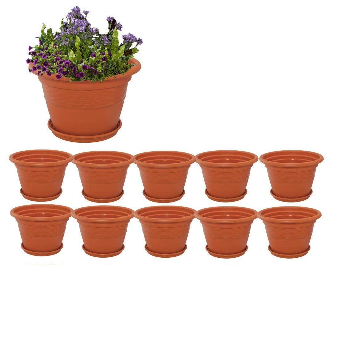 Meded Siti Plast Heavy Duty Plastic Planter Pots with Bottom Tray Color Terracotta (8 Inch, Pack of 10) product image