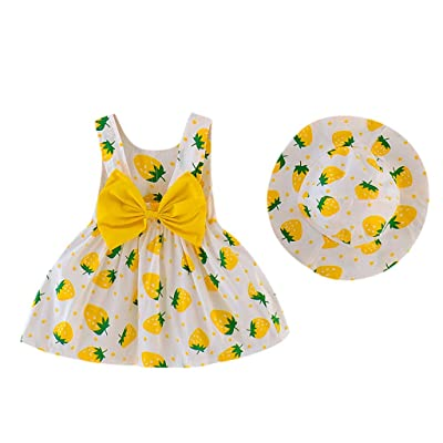 Girls Clothes Outfits, Fashion Cute Strawberry Print Bow Sundress+Hat 2PC Clothes Set Toddler Infant Kids Clothes Gifts: Clothing