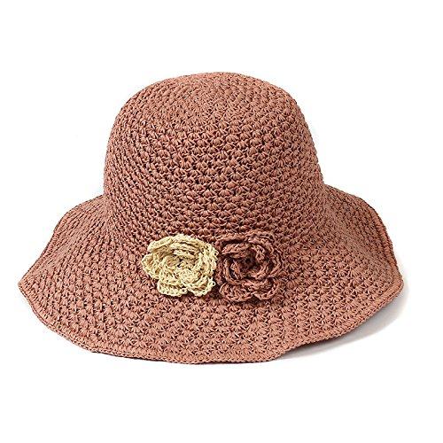 1e6a4edf94ab2 Aabigale beautiful Handmade Crochet Straw Hat Sun Hats For Women Foldable  Large Brim Hat Flower Adornment