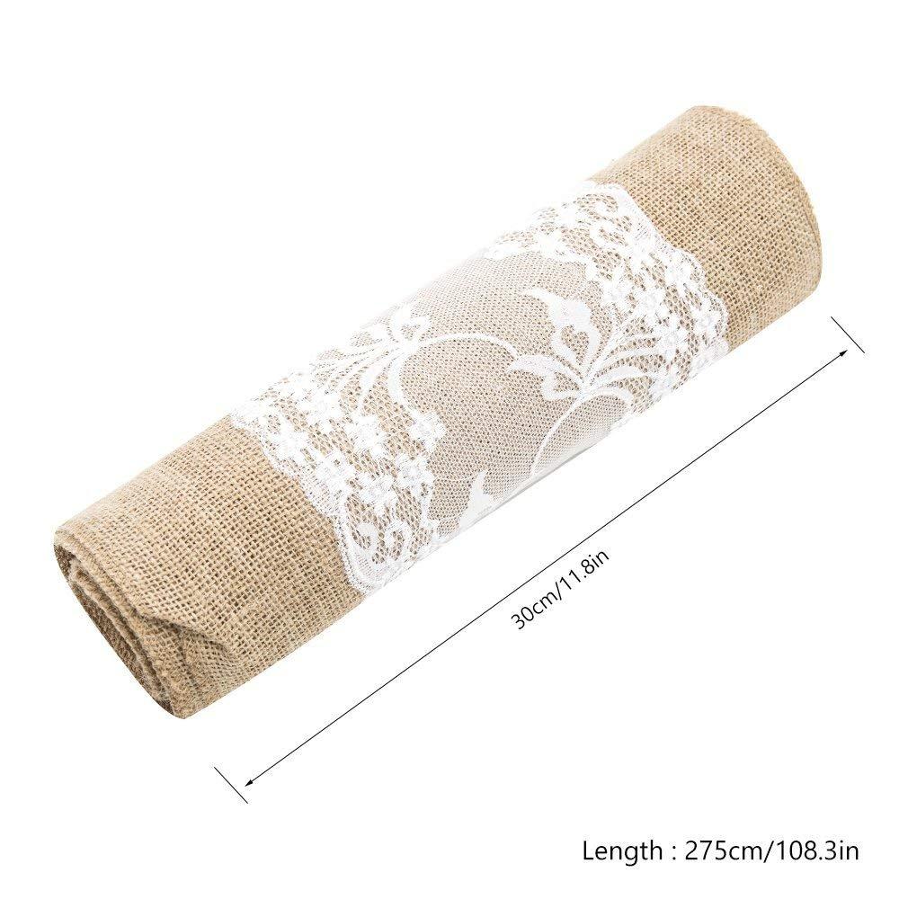 Heyjewels 10pcs Chemins de Table en Toile de Jute 30 x 275 cm Vintage Rustique Nappe de Toile de Jute pour Mariage Festival de d/écoration de Cas de f/êtes 10pcs