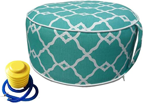Inflatable Ottoman footrest Stool with Portable air Pump and Storage Bag or Pouch Used for Outdoor or Indoor Travel Portable Camping Backyard Patio Garden Home Yoga footrest Stool Turquoise