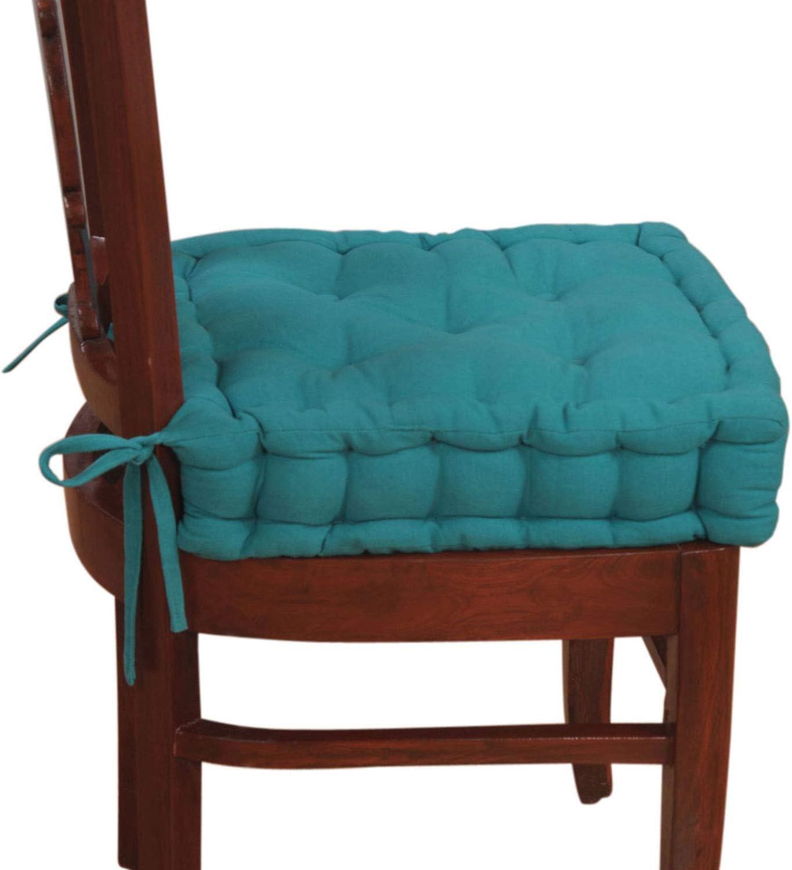 HOMESCAPES Coussin de Chaise Turquoise matelassé avec Boutons capitonnés de 40 x 40 x 10 cm
