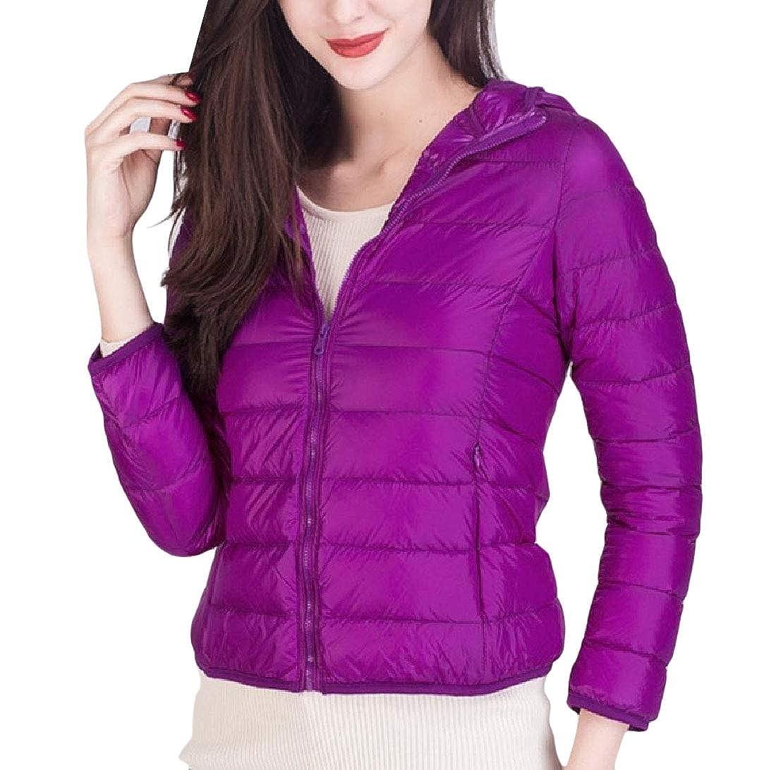 Purple Freely Womens Waterproof Hooded Outwear Topcoat Packable Down Jacket