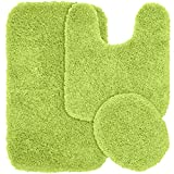 Lime Green Rug Garland Rug 3-Piece Jazz Shaggy Washable Nylon Bathroom Rug Set, Lime Green