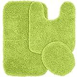 Garland Rug 3-Piece Jazz Shaggy Washable Nylon Bathroom Rug Set, Lime Green