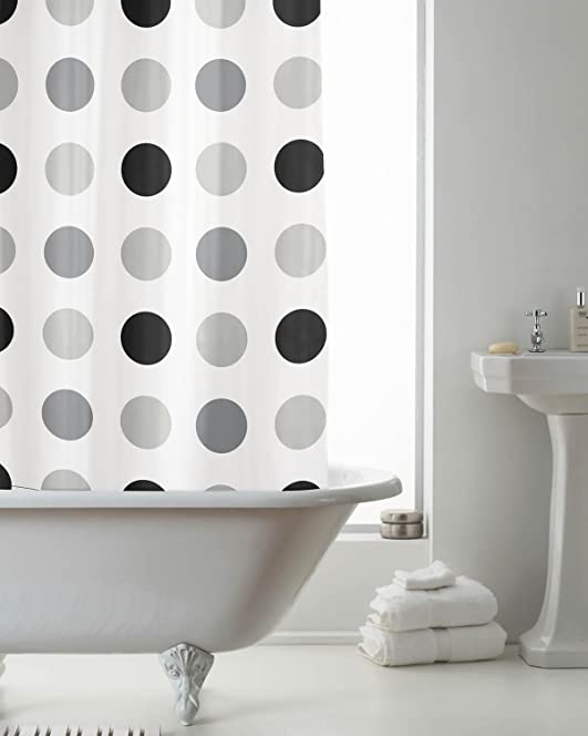 PEVA Shower Curtain Mono Spots Grey/Black by Beamfeature: Amazon ...