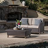 Great Deal Furniture Woodland Outdoor Aluminum Framed Mixed Brown Wicker Loveseat and Coffee Table Set with Mixed Beige Water Resistant Cushions