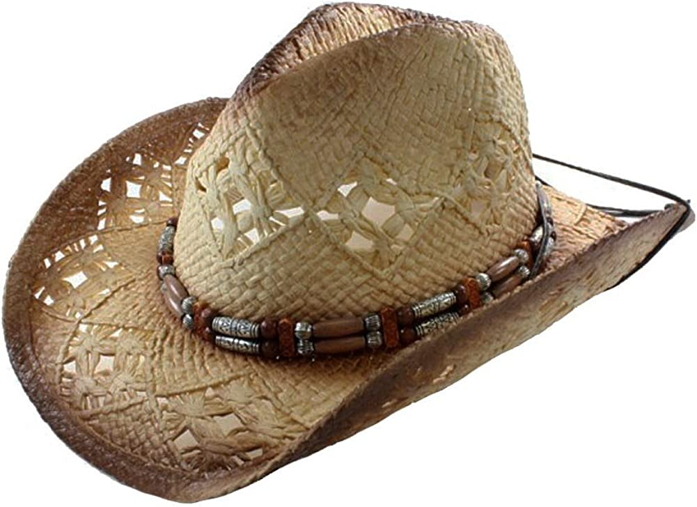 Vamuss Black Stained Seagrass Western Cowboy Hat with Shapeable Brim and Chin Strap