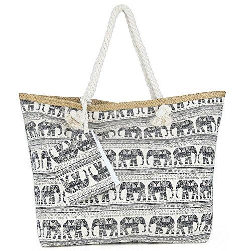 ZWOOS Bolsa de Playa de Lona Mujer Grande Bolso de Mano Shopper Bolsa con Cremallera Elefante