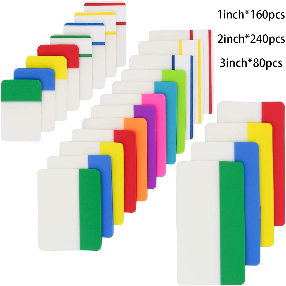 KIMCOME File Index Tabs 1,2,3 Inch Sticky Flags 480 Pieces, Colored Page Markers Self Adhesive, Writable Note Tabs for Binders, Books, Paper, Notebooks, Filing, Folders [3 Sizes, 24 Sets]