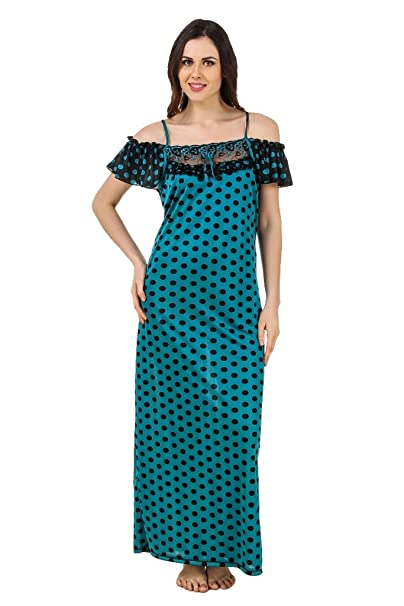 dcfed966bd Freely Blue Polka Dotted Printed Off-Shoulder Full Satin Nighty Night Dress