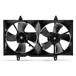 Condenser Cooling Radiator Dual Fan Fits 2004-2008 Nissan Maxima 2002-2006 Altima 2.5L 3.5L 03 05 07 w/Motor Assembly