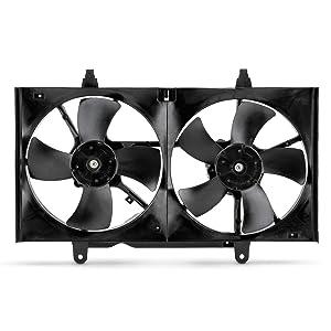 Condenser Cooling Radiator Dual Fan Fits 2004-2008 Nissan Maxima 2002-2006 Altima 2.5L 3.5L 03 05 07 w/Motor Assembly