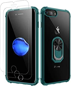 iPhone 7 Plus, iPhone 8 Plus Case, [ Military Grade ] with [ Glass Screen Protector] 15ft. Drop Tested Protective Case, Kickstand, Compatible with Apple iPhone 8Plus, iPhone 7 Plus -Dark Green