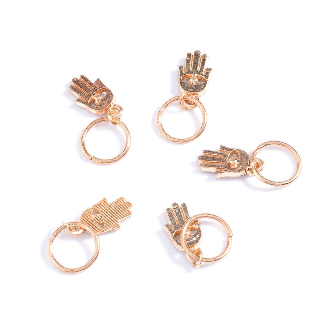 5//10Pc Punk Women Hip-Hop Braid Hand Cross Shell Star Ring Hair Clips Accessory