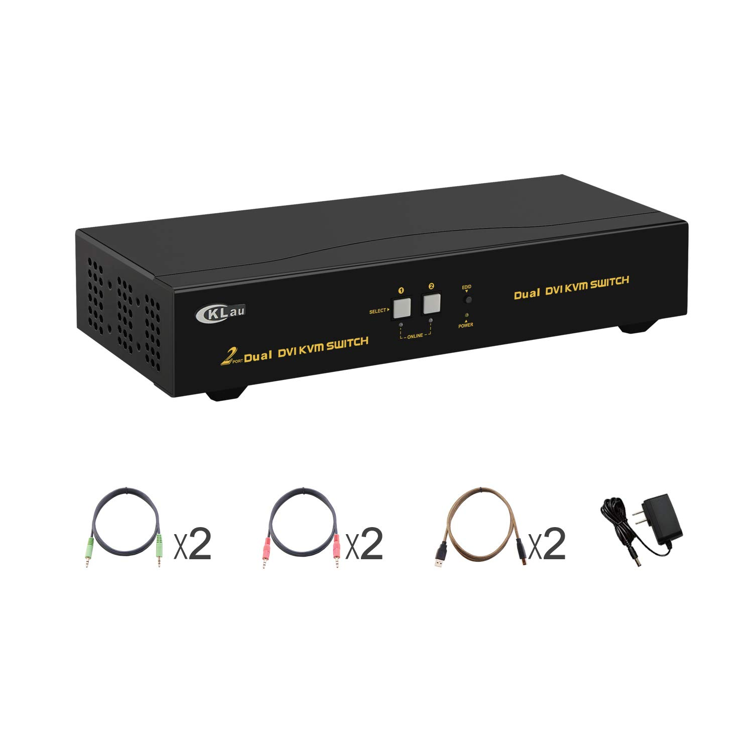CKLau 2 Port KVM Switch DVI Dual Monitor Extended Display with Audio and Microphone, USB 2.0 Hub