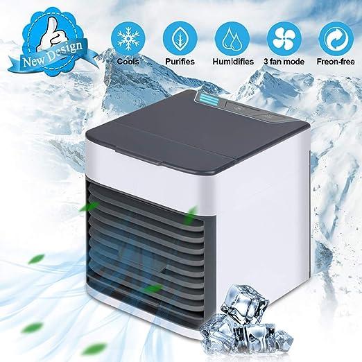 Qfun Mini Aire Acondicionado Portátil Enfriador USB, 3 en 1 ...