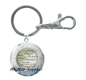 Hilton Head Island South Carolina Map.Amazon Com Charming Locket Keychain Hilton Head Island South