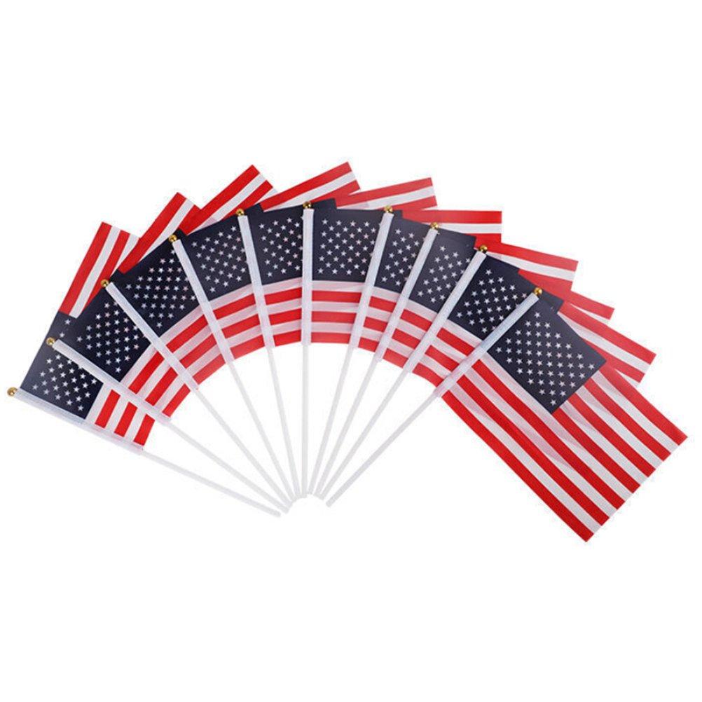 BESTOYARD 100 stücke USA Stick Flag Mini Amerikanischen US-Stick Stick Fahnen auf Metall Stick mit Runde Top 14 cm x 21 cm