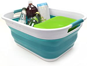 SAMMART 19.5L (5.1 Gallon) Collapsible/Foldable/Portable Washing Tub, Water Capacity 14.5L/3.8 Gallon (Small size, Bright Blue)
