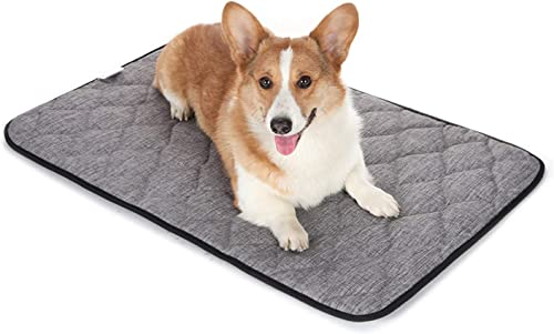 QIAOQI Dog Bed Crate Mat Grey Kennel Pad Washable Orthopedic Pillow Pet Beds Dense Cushion Padding Bolster