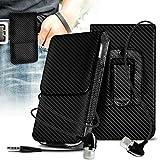 (Black Carbon) Vodafone Smart Platinum 7 Vertical Faux Leather Belt Holster Pouch Cover Case & Aluminium Earphones ONX3®
