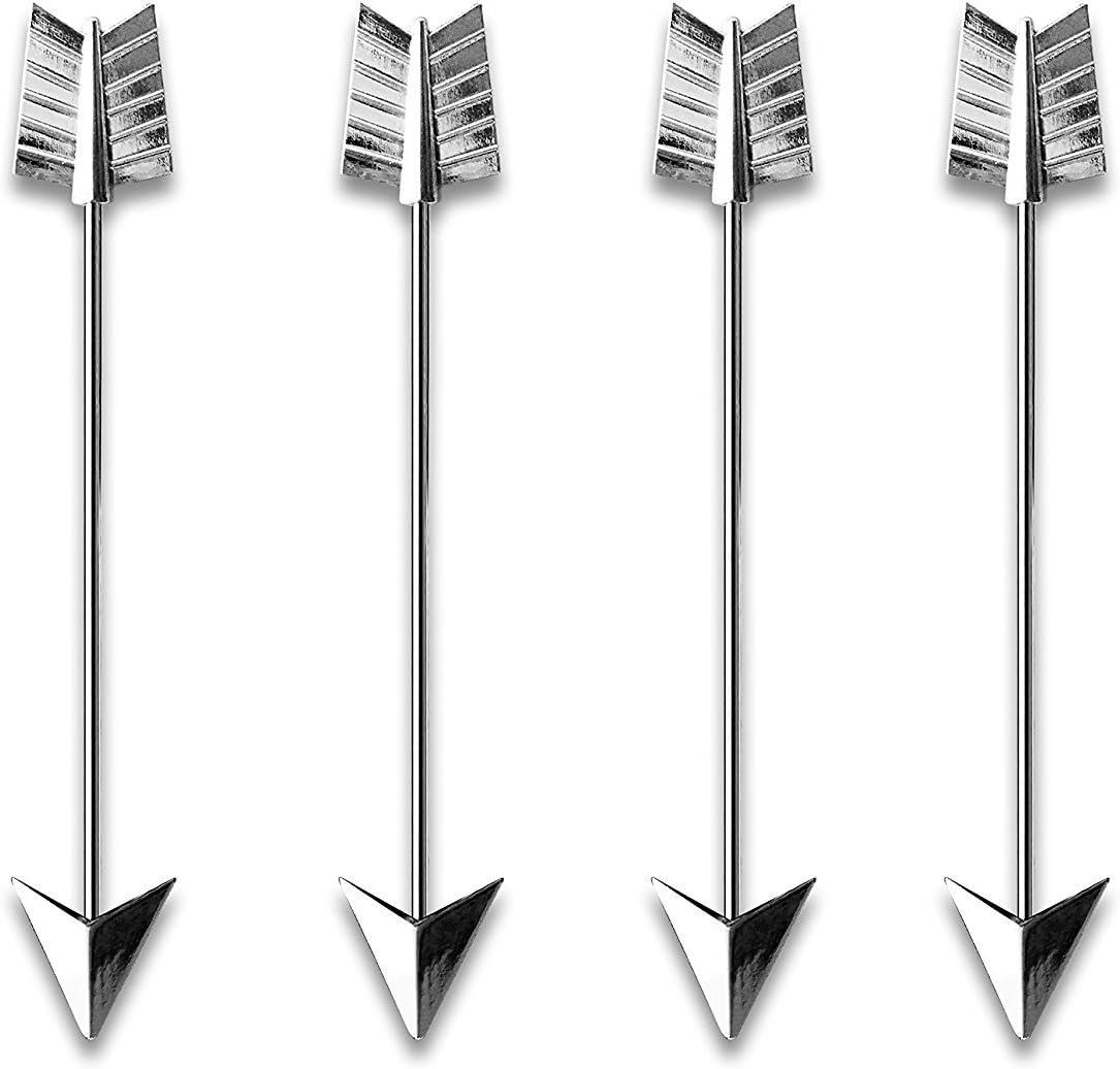 Cocktail Stirrer Swizzle Stick 6 Piece Metal Arrow Drink Stirrer