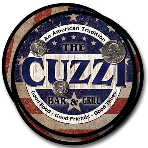 (Cuzzi Family Bar and Grill Rubber Drink Coaster Set - Patriotic)