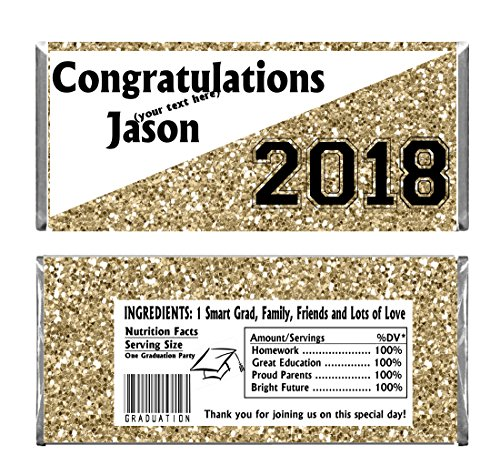 Gold Graduation Glitter Design Party Personalized Custom Chocolate Candy Bar WRAPPERS ONLY Set of 24 (Personalized Bars Candy Graduation)