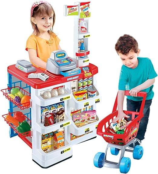Game toy Juguete de Caja registradora de supermercado para niños, Tienda de abarrotes Simulación de Carro de la Compra simula Juguete, Juego de rol de Juguete de supermercado: Amazon.es: Hogar