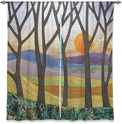 Window Curtains Lined from DiaNoche Designs Unique, Decorative, Funky, Cool by Jennifer Baird – Sunset Over The Hills